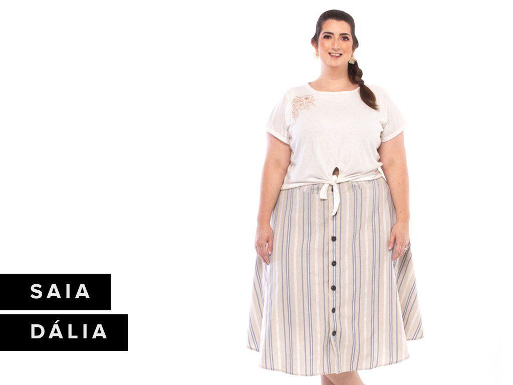 Look Listras - Saia Zuya Plus Size Midi Dália