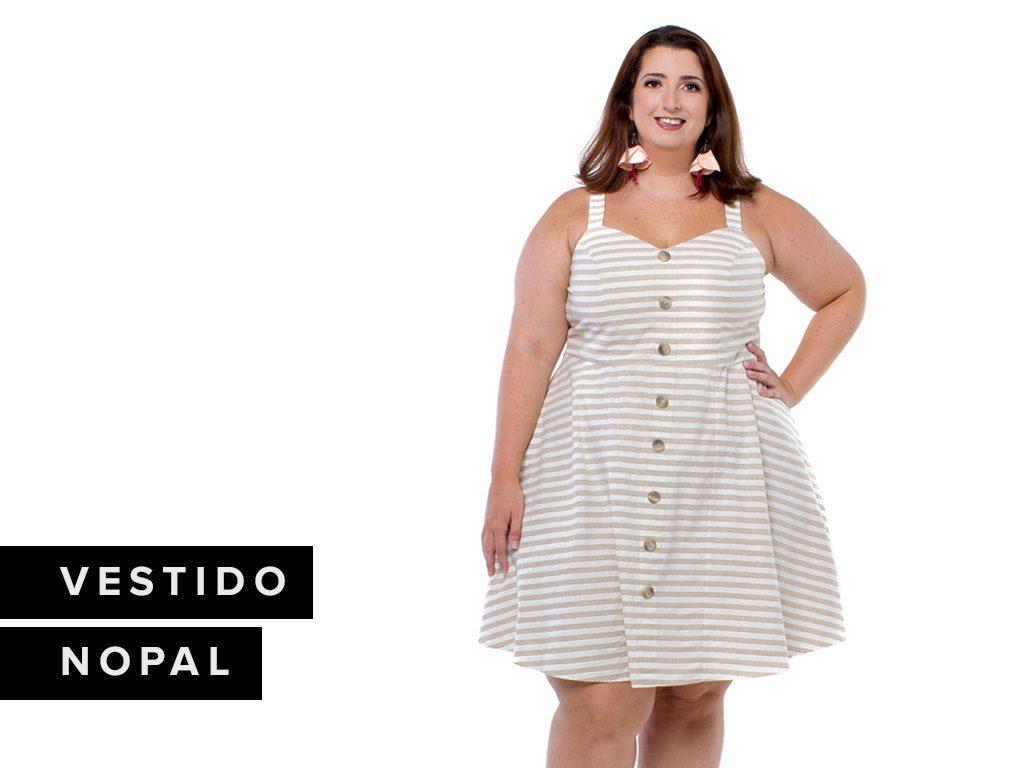 Look Listras - Vestido Zuya Plus Size Nopal Listrado