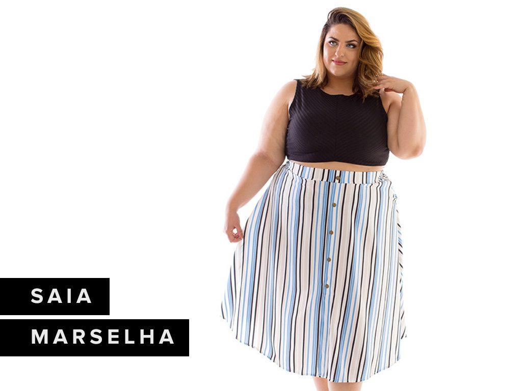 Saia Zuya Plus Size Midi Marselha
