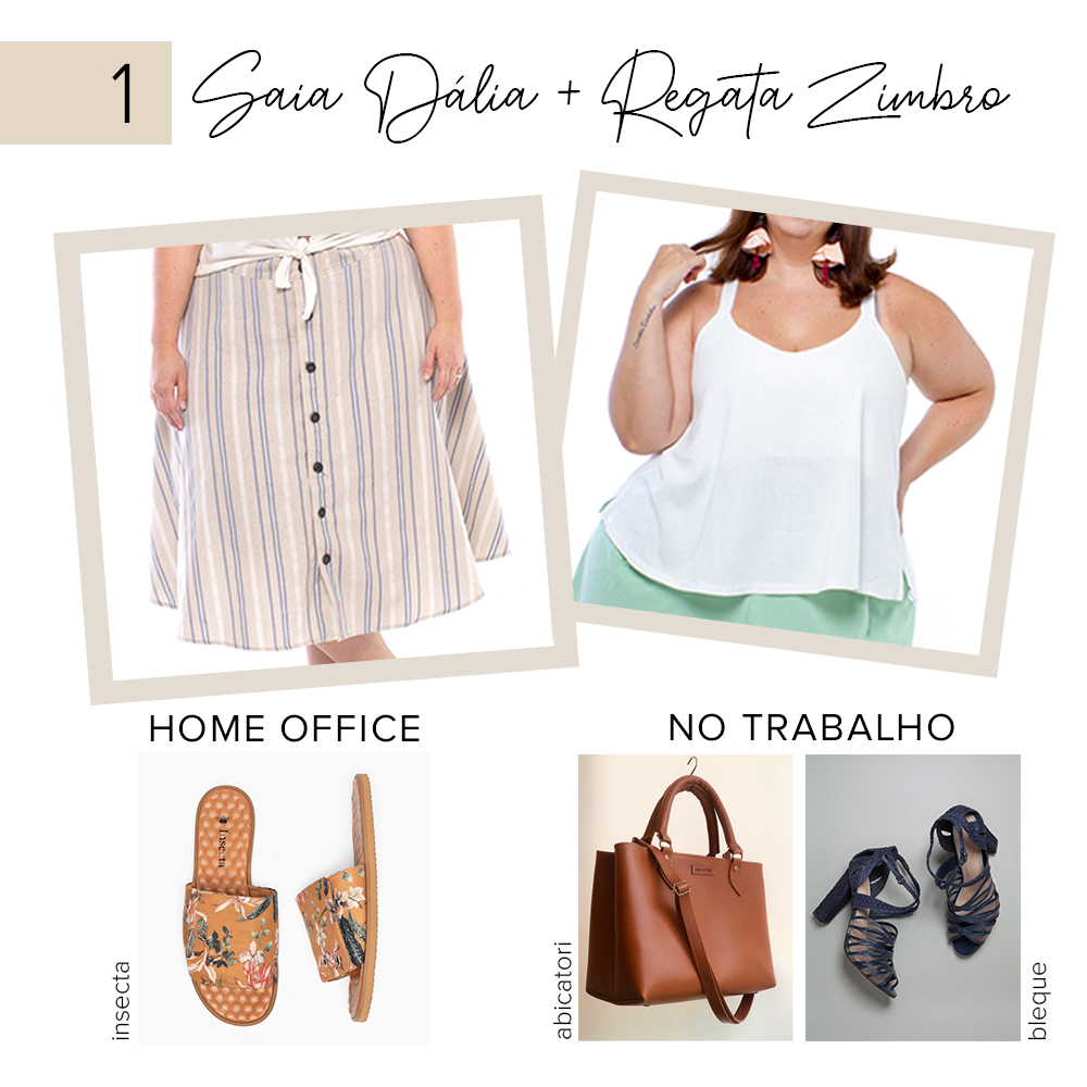 look plus size para trabalho e home office - saia dália e regata zimbro - zuya