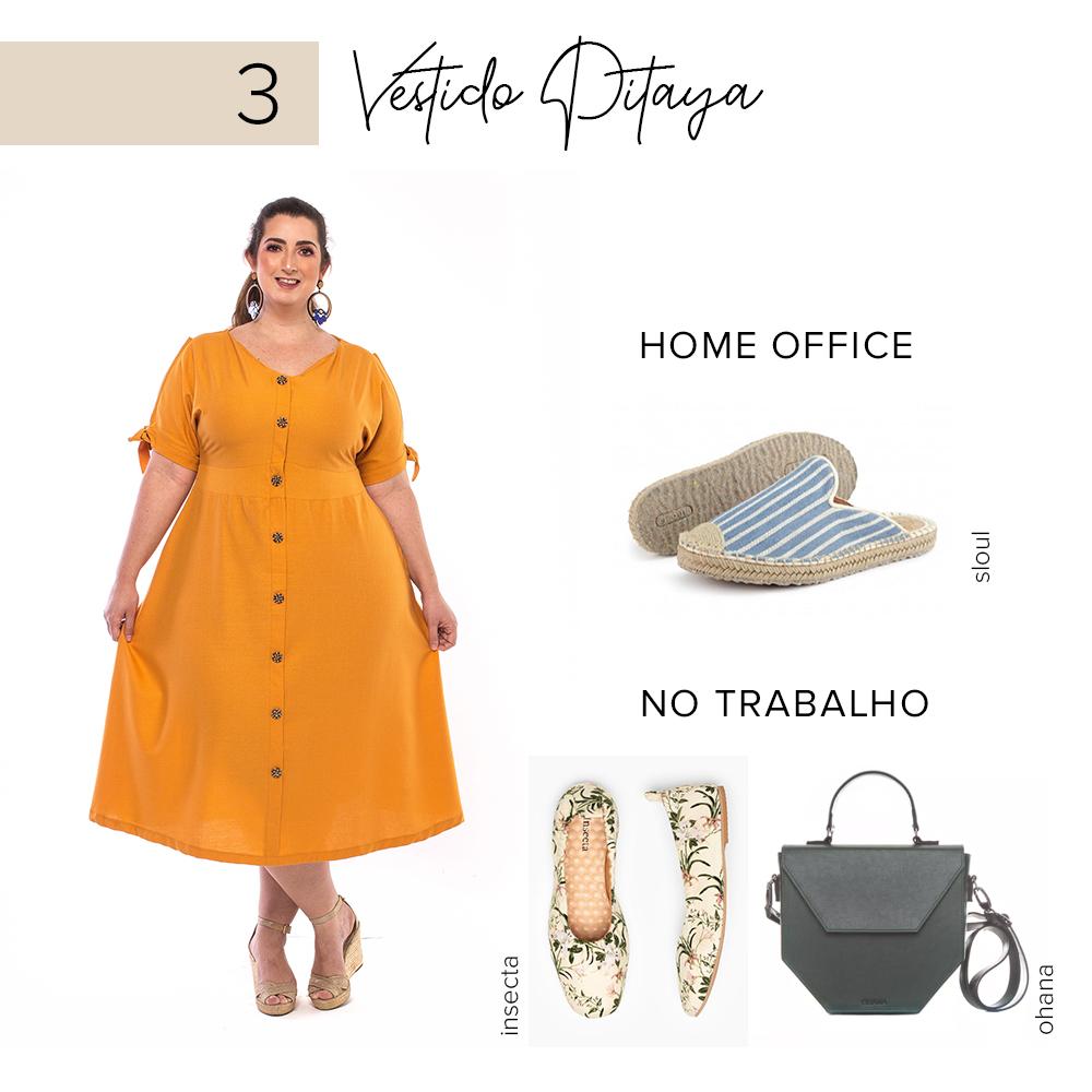 look plus size para trabalho e home office - vestido pitaya - zuya